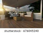 3d rendering of rattan garden... | Shutterstock . vector #676045240