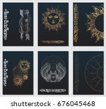 a set of cards with a style of... | Shutterstock .eps vector #676045468