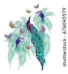 unusual azure tropical print... | Shutterstock . vector #676045579