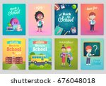 back to school card set  school ... | Shutterstock .eps vector #676048018