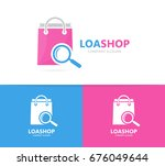 shop and loupe logo combination.... | Shutterstock . vector #676049644