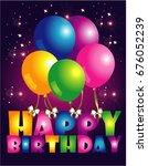 happy birthday card. balls on... | Shutterstock .eps vector #676052239