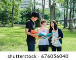 young students asian together... | Shutterstock . vector #676056040