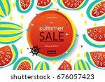 summer discounts. banner vector ... | Shutterstock .eps vector #676057423