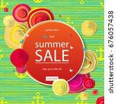 summer discounts. banner vector ...   Shutterstock .eps vector #676057438