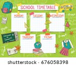 template school timetable for... | Shutterstock .eps vector #676058398