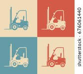 forklift truck icons  retro... | Shutterstock .eps vector #676061440