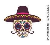 cartoon mexican sugar skull... | Shutterstock .eps vector #676063333