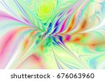 Abstract Exotic Flower On Whit...