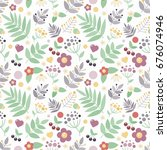 seamless floral background.... | Shutterstock . vector #676074946