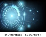 futuristic technology on dark... | Shutterstock .eps vector #676075954