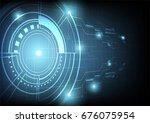 futuristic technology on dark... | Shutterstock .eps vector #676075954