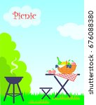 summer picnic with park... | Shutterstock .eps vector #676088380