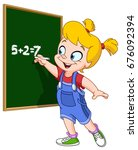 school girl writing with chalk... | Shutterstock .eps vector #676092394