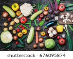 Vegetables And Mushrooms On A...
