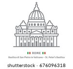 rome line icon. saint peters... | Shutterstock .eps vector #676096318