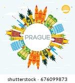 prague skyline with color... | Shutterstock .eps vector #676099873