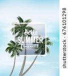palm trees against blue sky....   Shutterstock .eps vector #676101298