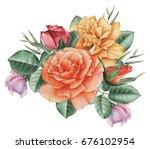 hand painted watercolor... | Shutterstock . vector #676102954