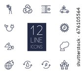 set of 12 bio outline icons set.... | Shutterstock .eps vector #676105564
