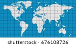 world map with coordinate grid... | Shutterstock .eps vector #676108726