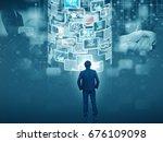 businessman looking screen | Shutterstock . vector #676109098