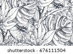 vector seamless pattern with... | Shutterstock .eps vector #676111504