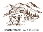 vector image of village and... | Shutterstock .eps vector #676113313