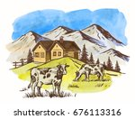 vector image of village and... | Shutterstock .eps vector #676113316