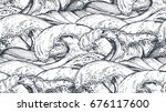 seamless pattern with hand... | Shutterstock .eps vector #676117600