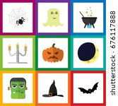 flat icon halloween set of...   Shutterstock .eps vector #676117888