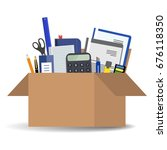 office accessories in a... | Shutterstock .eps vector #676118350