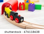 colorful wooden toy train and... | Shutterstock . vector #676118638