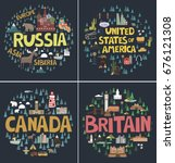 set of canada  russia  united... | Shutterstock .eps vector #676121308