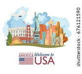welcome to usa. united states...   Shutterstock .eps vector #676121590