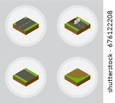 isometric road set of upwards ... | Shutterstock .eps vector #676122208