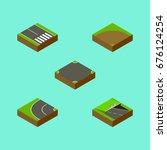isometric road set of...   Shutterstock .eps vector #676124254