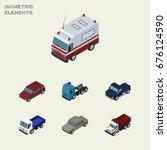 isometric car set of auto  suv  ...