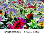 abstract flower bed | Shutterstock . vector #676134259