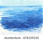 watercolor sea background. hand ...   Shutterstock . vector #676135210