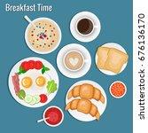 breakfast set.   Shutterstock .eps vector #676136170