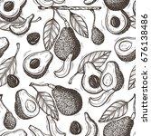 avocados vector seamless... | Shutterstock .eps vector #676138486