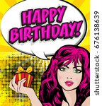 pop art woman with a birthday... | Shutterstock .eps vector #676138639
