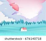 beautiful natural landscape... | Shutterstock .eps vector #676140718