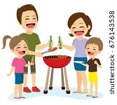 happy family preparing barbecue ... | Shutterstock .eps vector #676143538