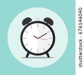 alarm clock time flat vector | Shutterstock .eps vector #676146040