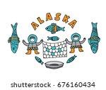 illustration of fishing in... | Shutterstock .eps vector #676160434
