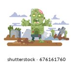 zombies in cemetery night | Shutterstock .eps vector #676161760
