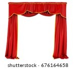 red curtains isolated. 3d...   Shutterstock . vector #676164658