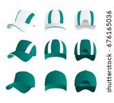 strip baseball cap teal color...   Shutterstock .eps vector #676165036
